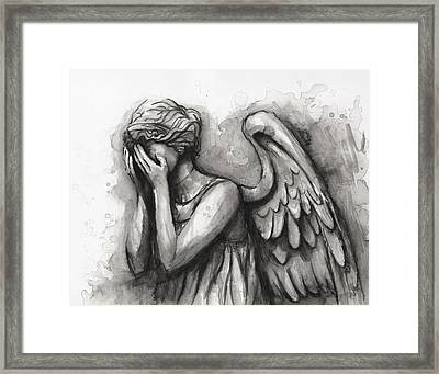 Weeping Angel Watercolor Framed Print