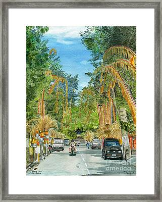 Framed Print featuring the painting Weeping Janur Bali Indonesia by Melly Terpening