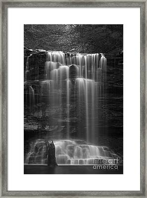 Weeping Wilderness Waterfall Black And White Framed Print by John Stephens