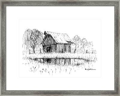 Weeping Willow And Barn Two Framed Print