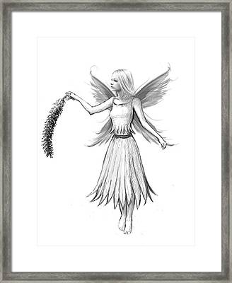 Weeping Willow Fairy With Catkin B And W Framed Print