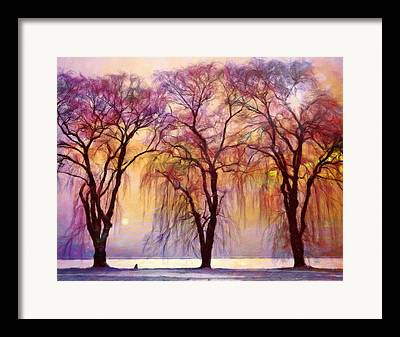 Willow Lake Mixed Media Framed Prints