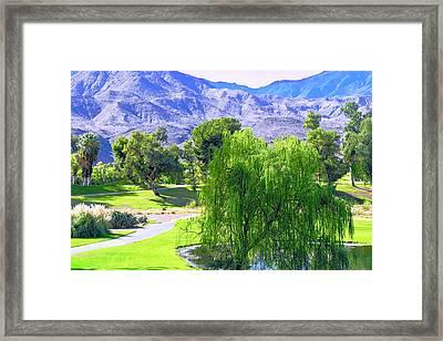 Weeping Willow Tree In Desert Scene Framed Print