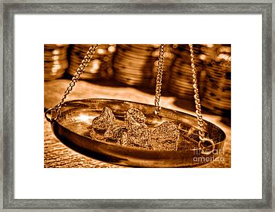 Weighing Gold - Sepia Framed Print