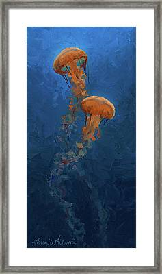 Framed Print featuring the painting Weightless - Pacific Nettle Jellyfish Study  by Karen Whitworth