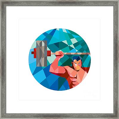 Weightlifter Snatch Grab Lifting Barbell Low Polygon Framed Print by Aloysius Patrimonio