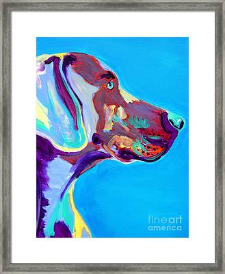 Weimaraner - Blue Framed Print by Alicia VanNoy Call