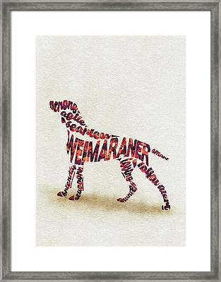 Framed Print featuring the painting Weimaraner Watercolor Painting / Typographic Art by Inspirowl Design