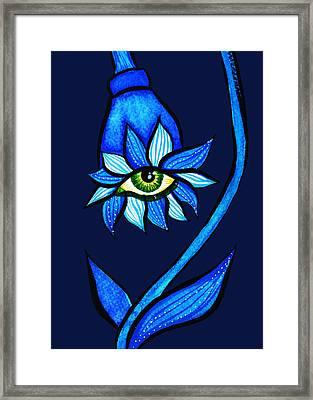 Weird Blue Staring Creepy Eye Flower Framed Print