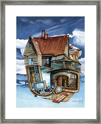 Weird Steampunk House Framed Print by James Stanley