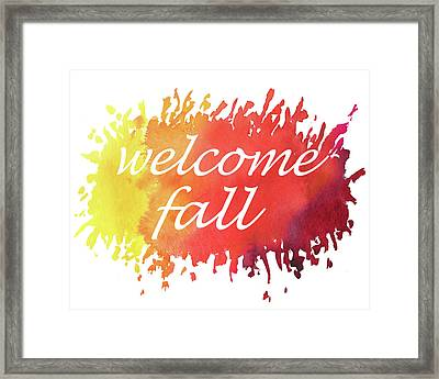 Framed Print featuring the painting Welcome Fall Watercolor by Irina Sztukowski