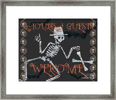 Welcome Ghoulish Guests Framed Print by Debbie DeWitt