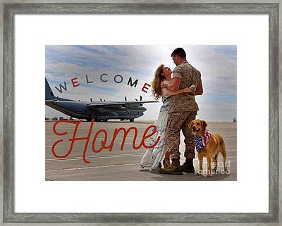 Framed Print featuring the digital art Welcome Home by Kathy Tarochione