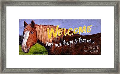 Welcome Horse Sign Framed Print
