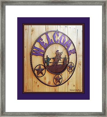 Framed Print featuring the photograph Welcome In Purple by Barbara MacPhail