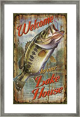 Welcome Lake House Sign Framed Print by Jon Q Wright