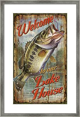 Welcome Lake House Sign Framed Print