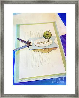 Welcome New Baby Handmade Stationary Framed Print by Vizual Studio