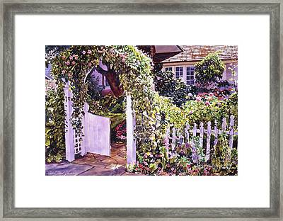 Welcome Rose Covered Gate Framed Print