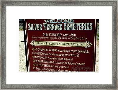 Welcome Silver Terrace Cemeteries Framed Print by LeeAnn McLaneGoetz McLaneGoetzStudioLLCcom