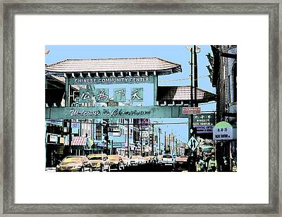 Welcome To Chinatown Sign Blue Framed Print