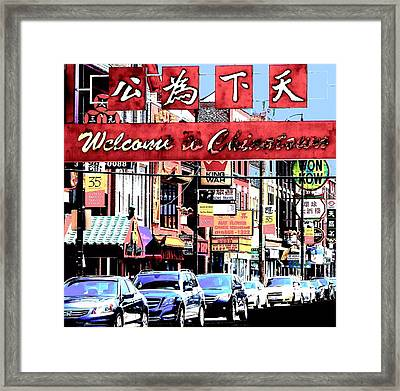 Welcome To Chinatown Sign Red Framed Print