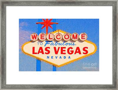 Welcome To Fabulous Las Vegas Nevada Framed Print by Wingsdomain Art and Photography