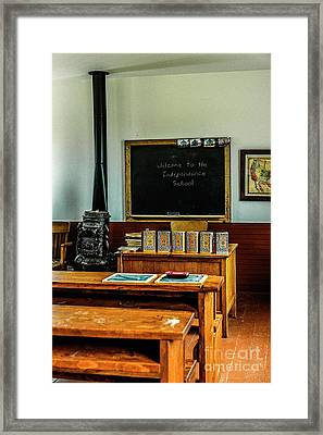 Welcome To Independence School Framed Print by Jon Burch Photography