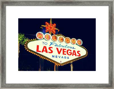 Framed Print featuring the photograph Welcome To Las Vegas Neon Sign - Nevada Usa by Gregory Ballos