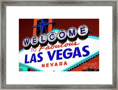 Welcome To Las Vegas Pop Art Framed Print by John Rizzuto
