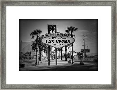 Welcome To Las Vegas Series Holga Black And White Framed Print