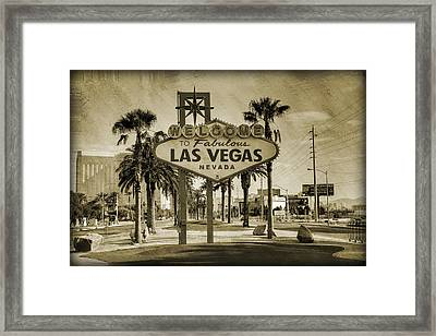 Welcome To Las Vegas Series Sepia Grunge Framed Print by Ricky Barnard