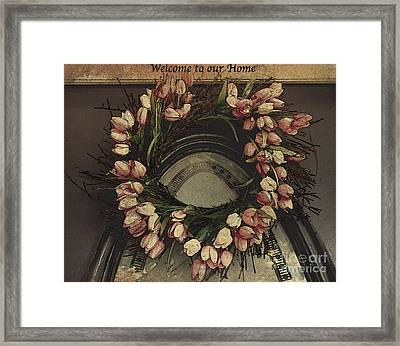 Welcome To Our Home / Burgundy Framed Print