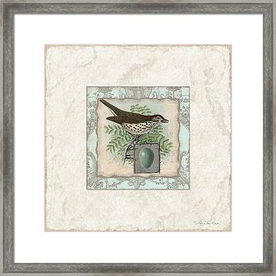 Welcome To Our Nest - Vintage Bird W Egg Framed Print by Audrey Jeanne Roberts
