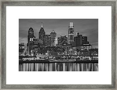Welcome To Penn's Landing Bw Framed Print