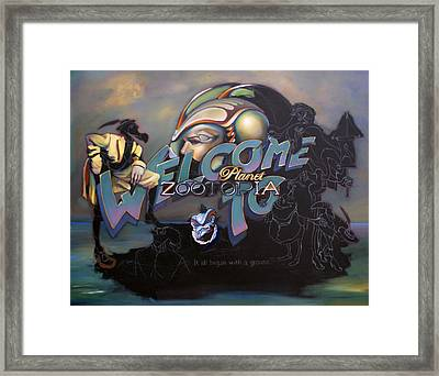 Welcome To Planet Zootopia Wip Framed Print