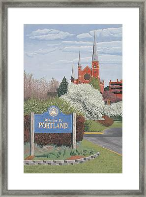 Welcome To Portland Framed Print