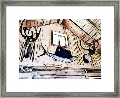 Welcome To The Cabin Framed Print by Elizavella Bowers