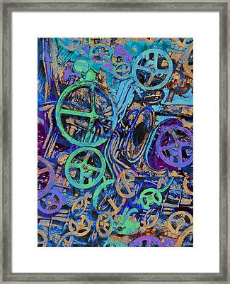 Welcome To The Machine Blue Framed Print