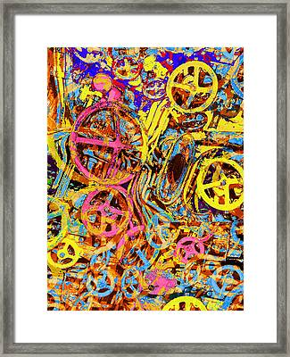 Welcome To The Machine Yellow Framed Print