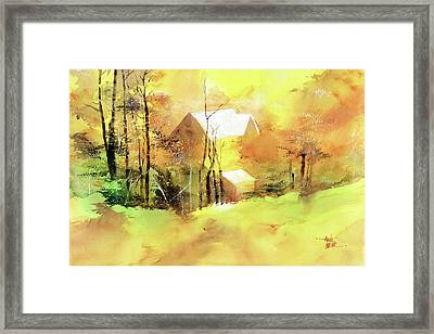 Framed Print featuring the painting Welcome Winter by Anil Nene