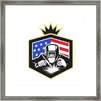 Welder Arc Welding Usa Flag Crest Retro Framed Print