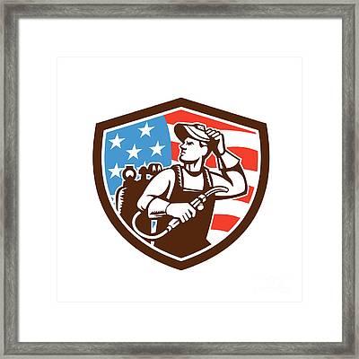 Welder Looking Side Usa Flag Crest Retro Framed Print