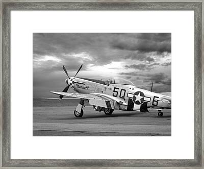 Well Earned Rest P-51 In Black And White Framed Print by Gill Billington