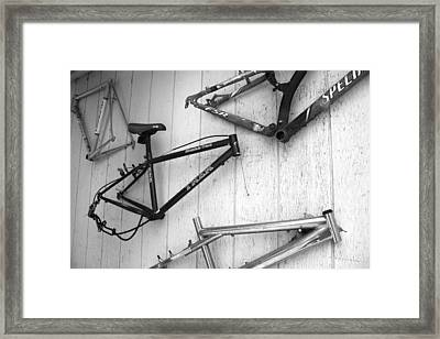 Well Worn Mountain Bike Frames  Framed Print by Gray  Artus