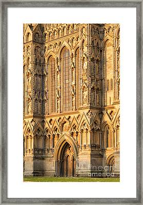 Framed Print featuring the photograph Wells Cathedral Golden Glow by Tim Gainey