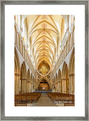 Wells Cathedral Nave Framed Print by Colin Rayner