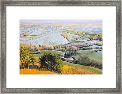 Welsh Landscape In Winter Framed Print by Harry Robertson