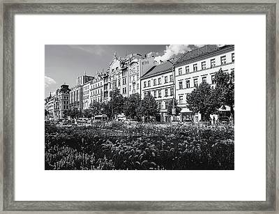 Framed Print featuring the photograph Wenceslas Square In Prague by Jenny Rainbow