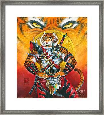 Werecat Warrior Framed Print by Melissa A Benson